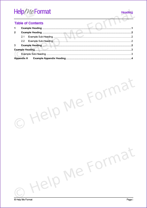 Table of Contents (TOC) Example - Entries update based on headings with appropriate styles applied