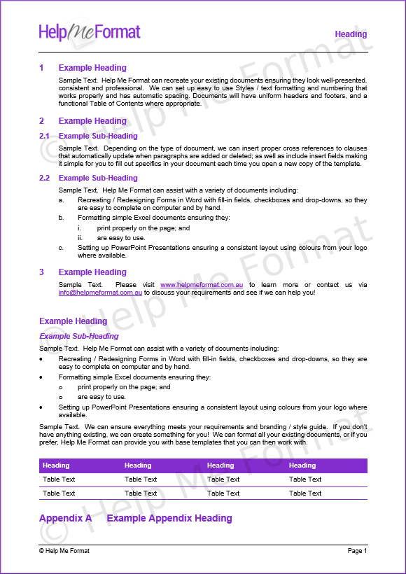 Document Formatting Example - With customised styles and template