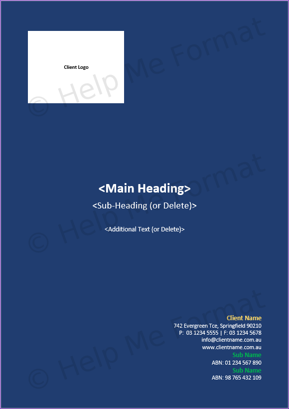 Front Cover Example - For Contractors - Document header text updates based on front cover heading text