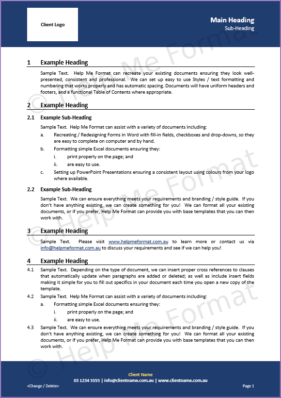 Document Formatting Example – For Contractors - With customised styles and template