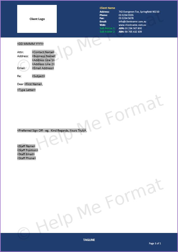 Letter Example - For Contractors - Letterhead design with basic fields to ensure letters consistent