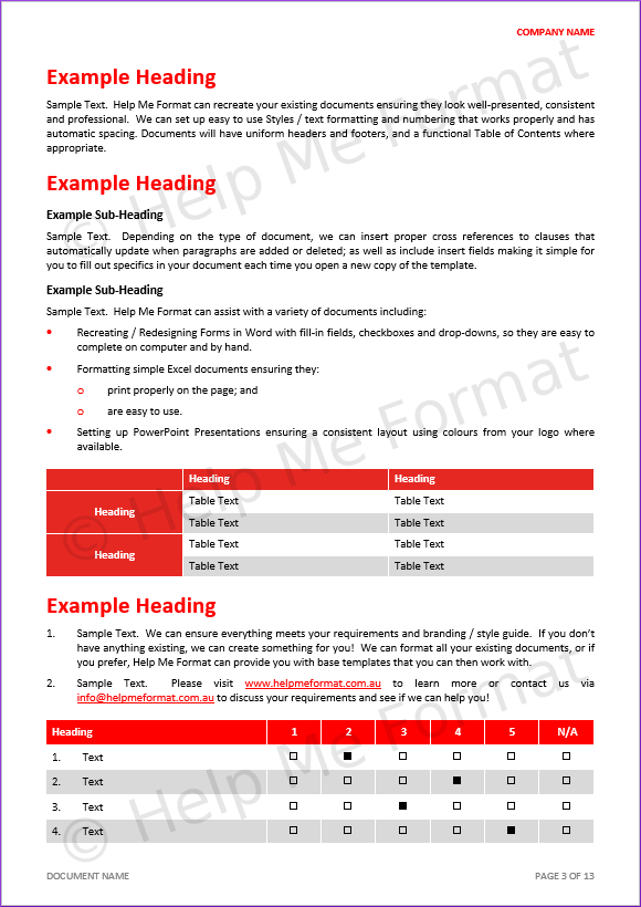 Document Formatting Example – For Consultants – With customised styles, template, and various tables