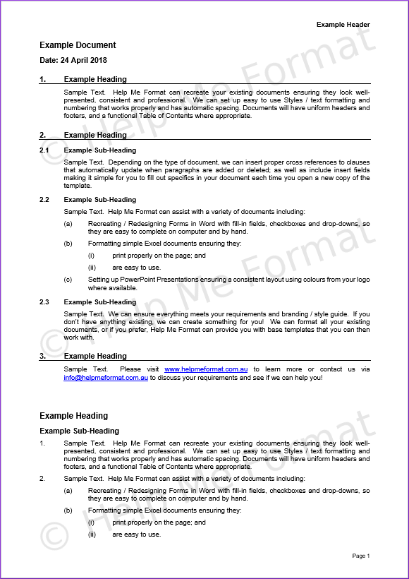 Document Formatting Example – For Legal – With customised styles and template