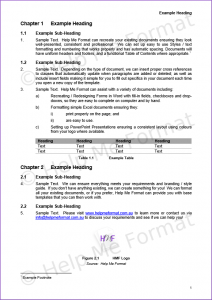 Document Formatting Example – For Consultants – With customised styles and template, as well as incrementing Figure and Table Numbers