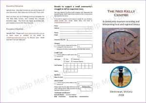 Brochure Example - For The Ned Kelly Centre - Basic folding brochure layout provided, with intricate donation page