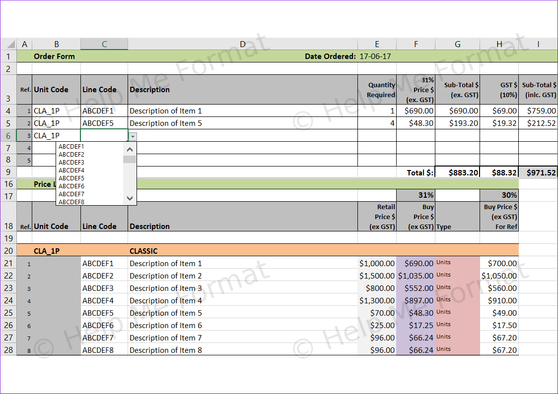Excel Example - For Contractors - Price list with drop-downs and basic lookup tables