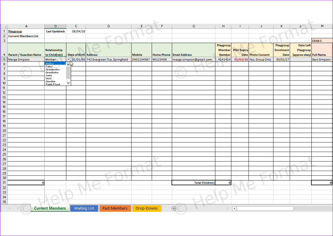 Excel Example - For Playgroup - Membership database with drop-downs and highlight when past expiry date