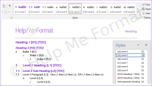 A snapshot of standard HMF formatting styles available
