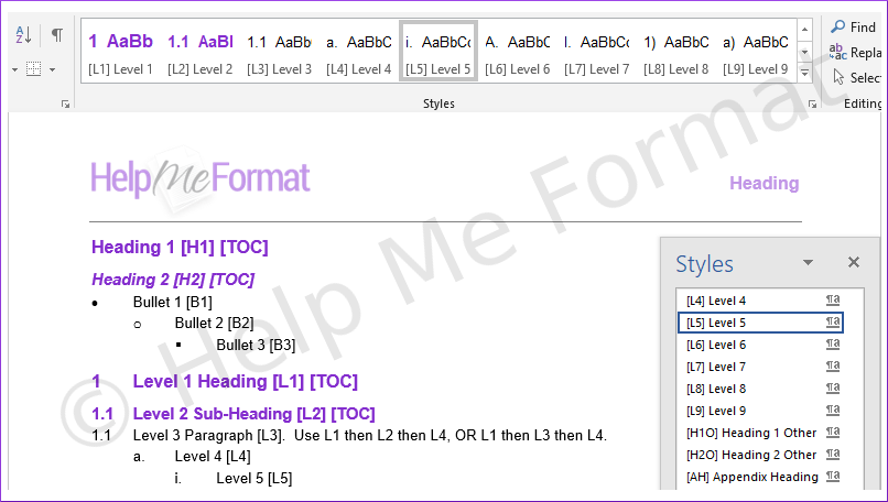 Customised Styles Example - A snapshot of formatting styles available