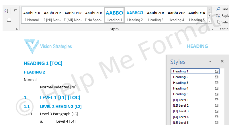 Customised Styles Example - For Vision Strategies - A snapshot of formatting styles available