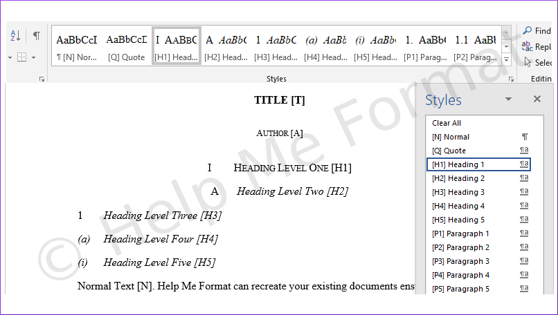 Customised Styles Example - For Legal - A snapshot of formatting styles available, in line with the Australian Guide to Legal Citation