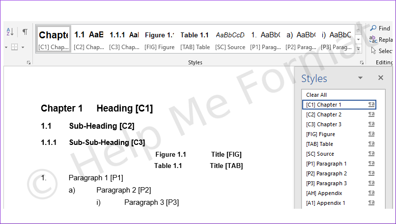 Customised Styles Example – For Consultants – A snapshot of formatting styles available, meeting client's specific needs