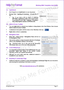 Training Material Example - Snapshot from HMF Working With Templates And Styles material provided with customised styles and templates