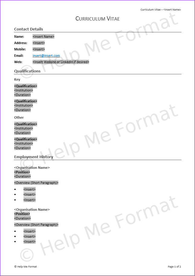 Opt-A4-GRY-S-L - HMF CV / Resume Template Grey Simple Line Pg1